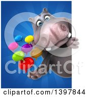 Clipart Of A 3d Henry Hippo Character Holding Speech Balloons Royalty Free Illustration