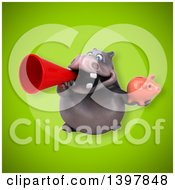 Clipart Of A 3d Henry Hippo Character Holding A Piggy Bank Royalty Free Illustration by Julos