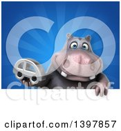 Clipart Of A 3d Henry Hippo Character Holding A Car Royalty Free Illustration by Julos
