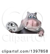 Clipart Of A 3d Henry Hippo Character Holding A Car On A White Background Royalty Free Illustration by Julos