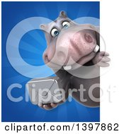 Clipart Of A 3d Henry Hippo Character Holding An Envelope Royalty Free Illustration by Julos