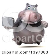 Clipart Of A 3d Henry Hippo Character Holding An Envelope On A White Background Royalty Free Illustration by Julos
