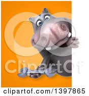 Clipart Of A 3d Henry Hippo Character Holding A Wrench Royalty Free Illustration by Julos