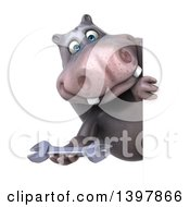 Clipart Of A 3d Henry Hippo Character Holding A Wrench On A White Background Royalty Free Illustration by Julos