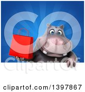 Clipart Of A 3d Henry Hippo Character Holding A Shopping Bag Royalty Free Illustration by Julos