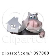 Clipart Of A 3d Henry Hippo Character Holding A House On A White Background Royalty Free Illustration by Julos