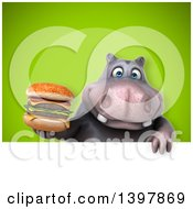 Clipart Of A 3d Henry Hippo Character Holding A Double Cheeseburger Royalty Free Illustration by Julos
