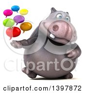Clipart Of A 3d Henry Hippo Character Holding Speech Balloons On A White Background Royalty Free Illustration