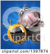 Clipart Of A 3d Henry Hippo Character Holding A Tv Royalty Free Illustration by Julos