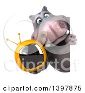 Clipart Of A 3d Henry Hippo Character Holding A Tv On A White Background Royalty Free Illustration by Julos