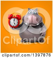 Clipart Of A 3d Henry Hippo Character Holding An Alarm Clock Royalty Free Illustration by Julos