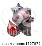 Clipart Of A 3d Henry Hippo Character Holding A Blood Drop On A White Background Royalty Free Illustration by Julos