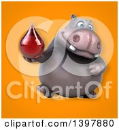 Clipart Of A 3d Henry Hippo Character Holding A Blood Drop Royalty Free Illustration by Julos