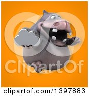 Clipart Of A 3d Henry Hippo Character Holding A Cloud Royalty Free Illustration by Julos