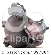 Clipart Of A 3d Henry Hippo Character Holding A Cloud On A White Background Royalty Free Illustration by Julos