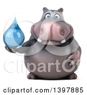 Clipart Of A 3d Henry Hippo Character Holding A Water Drop On A White Background Royalty Free Illustration by Julos