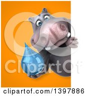 Clipart Of A 3d Henry Hippo Character Holding A Water Drop Royalty Free Illustration by Julos