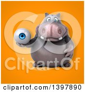 Clipart Of A 3d Henry Hippo Character Holding An Eyeball Royalty Free Illustration by Julos