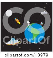 The Moon Rocket Satellites Earth And UFO In Outer Space Clipart Illustration