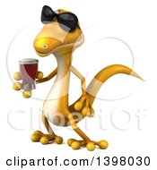 Clipart Of A 3d Yellow Gecko Lizard Holding A Beer On A White Background Royalty Free Illustration