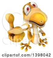 Clipart Of A 3d Yellow Gecko Lizard Holding A Thumb Up On A White Background Royalty Free Illustration