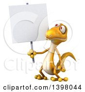 Clipart Of A 3d Yellow Gecko Lizard Holding A Blank Sign On A White Background Royalty Free Illustration