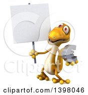 Clipart Of A 3d Yellow Gecko Lizard Holding A Euro Symbol On A White Background Royalty Free Illustration