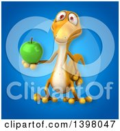 Clipart Of A 3d Yellow Gecko Lizard Holding A Green Apple Royalty Free Illustration
