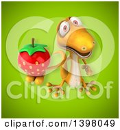 Clipart Of A 3d Yellow Gecko Lizard Holding A Strawberry Royalty Free Illustration