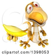 Clipart Of A 3d Yellow Gecko Lizard Holding A Banana On A White Background Royalty Free Illustration