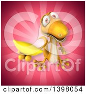Clipart Of A 3d Yellow Gecko Lizard Holding A Banana Royalty Free Illustration