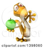Clipart Of A 3d Yellow Gecko Lizard Holding A Green Apple On A White Background Royalty Free Illustration
