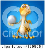 Clipart Of A 3d Yellow Gecko Lizard Holding A Golf Ball Royalty Free Illustration