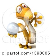Clipart Of A 3d Yellow Gecko Lizard Holding A Golf Ball On A White Background Royalty Free Illustration