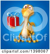Clipart Of A 3d Yellow Gecko Lizard Holding A Gift Royalty Free Illustration