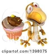 Clipart Of A 3d Yellow Gecko Lizard Holding A Cupcake On A White Background Royalty Free Illustration