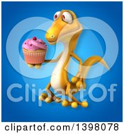 Clipart Of A 3d Yellow Gecko Lizard Holding A Cupcake Royalty Free Illustration