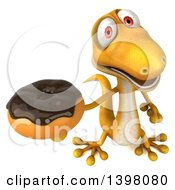 Clipart Of A 3d Yellow Gecko Lizard Holding A Donut On A White Background Royalty Free Illustration