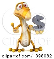 Clipart Of A 3d Yellow Gecko Lizard Holding A Usd Symbol On A White Background Royalty Free Illustration
