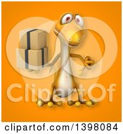 Clipart Of A 3d Yellow Gecko Lizard Holding Boxes Royalty Free Illustration
