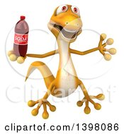 Clipart Of A 3d Yellow Gecko Lizard Holding A Soda On A White Background Royalty Free Illustration