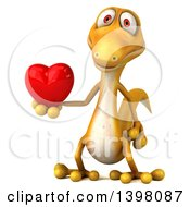 Clipart Of A 3d Yellow Gecko Lizard Holding A Heart On A White Background Royalty Free Illustration