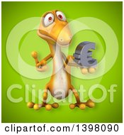 Clipart Of A 3d Yellow Gecko Lizard Holding A Euro Symbol Royalty Free Illustration