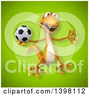 Clipart Of A 3d Yellow Gecko Lizard Holding A Soccer Ball Royalty Free Illustration