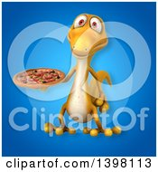 Clipart Of A 3d Yellow Gecko Lizard Holding A Pizza Royalty Free Illustration