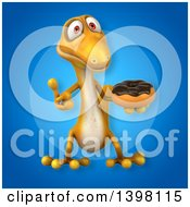 Clipart Of A 3d Yellow Gecko Lizard Holding A Donut Royalty Free Illustration