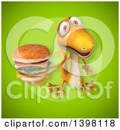 Clipart Of A 3d Yellow Gecko Lizard Holding A Double Cheeseburger Royalty Free Illustration