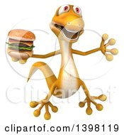 Clipart Of A 3d Yellow Gecko Lizard Holding A Double Cheeseburger On A White Background Royalty Free Illustration