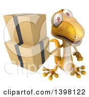 Clipart Of A 3d Yellow Gecko Lizard Holding Boxes On A White Background Royalty Free Illustration by Julos