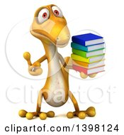 Clipart Of A 3d Yellow Gecko Lizard Holding Books On A White Background Royalty Free Illustration